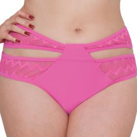 Culottte taille basse fantaisie Curvy Kate HI VOLTAGE shocking pink - Maillot de bain curvy kate grande taille