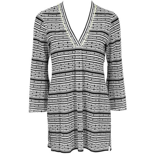 Robe-tunique Lidea ETHNO GRAPHIC black white lemon