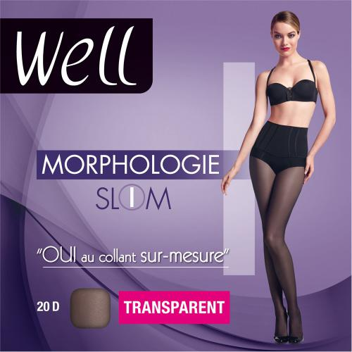 Collant transparent Well MORPHOLOGIE 20D noir