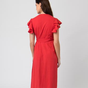 DUNE ROBE - COTON / LIN - rouge